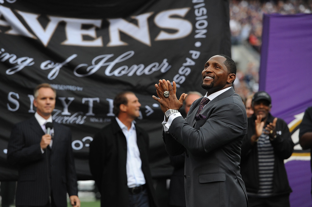 . Ray Lewis, former linebacker for the Baltimore Ravens, speaks as he is inducted into the Ring of Honor at halftime during the game between the Baltimore Ravens and the Houston Texans at M&T Bank Stadium on September 22, 2013 in Baltimore, Maryland. The Ravens defeated the Texans 30-9.  (Photo by Larry French/Getty Images)
