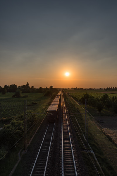 Railway at Sunset - Via Asseverati, Reggio Emilia, Italy - June 9, 2017