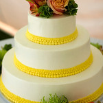A lemon yellow dotted band on a Cape Cod wedding cake from The Casual Gourmet - The Casual Gourmet, Cape Cod Wedding Caterer