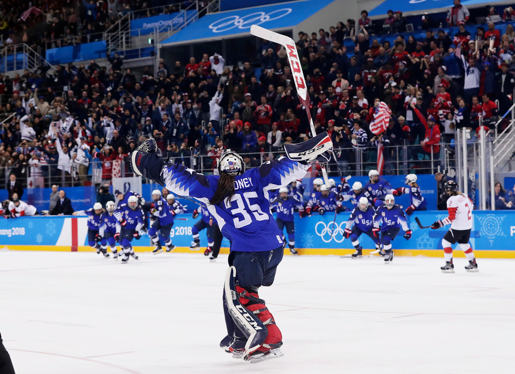 . The United States players celebrate winning after the women\'s gold medal hockey game against Canada at the 2018 Winter Olympics in Gangneung, South Korea, Thursday, Feb. 22, 2018. (AP Photo/Frank Franklin II)