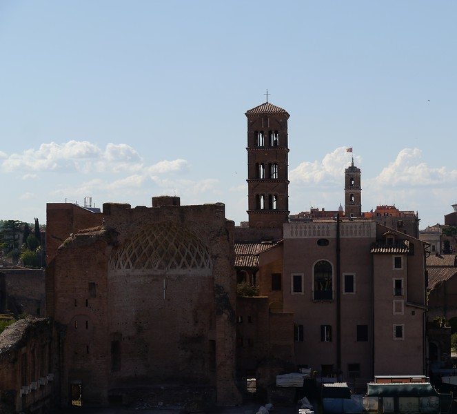 What remains of the Temple of Venus and Rome (left).
