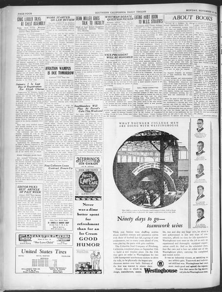 Southern California Daily Trojan, Vol. 21, No. 44, November 18, 1929