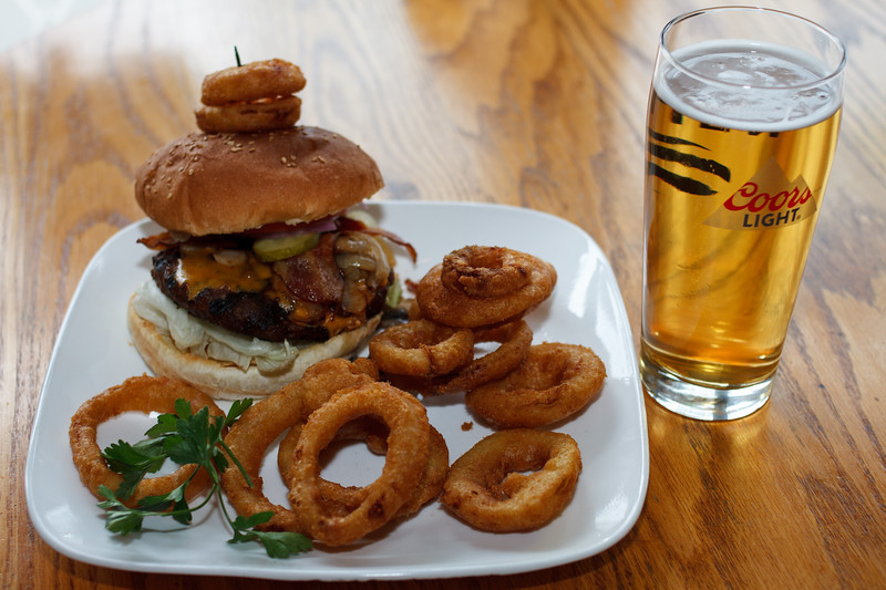 Loaded Burger with Onion Rings