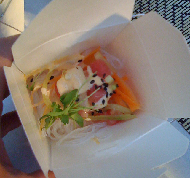 Yummy tuna carton w/asian noodles, veggies & creamy sesame sauce at #TasteCLT