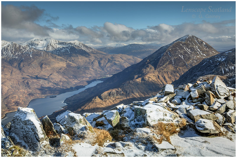 Loch Leven, Garbh Bheinn and the eastern Mamores from the Pap of Glen Coe