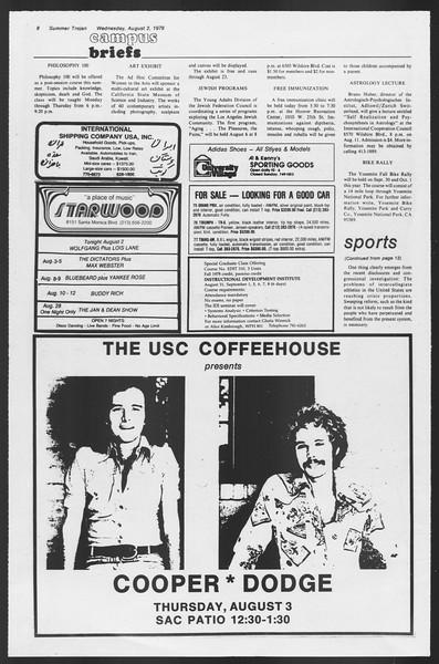 Summer Trojan, Vol. 74, No. 14, August 02, 1978