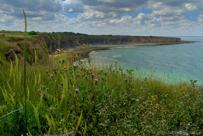 View from Pont du Hoc, Normandy - showing the cliffs that US Army Rangers scaled in darkness in June, 1944.