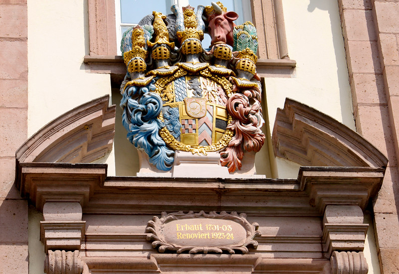 Detail on the Rathaus (city hall) building in Heidelberg
