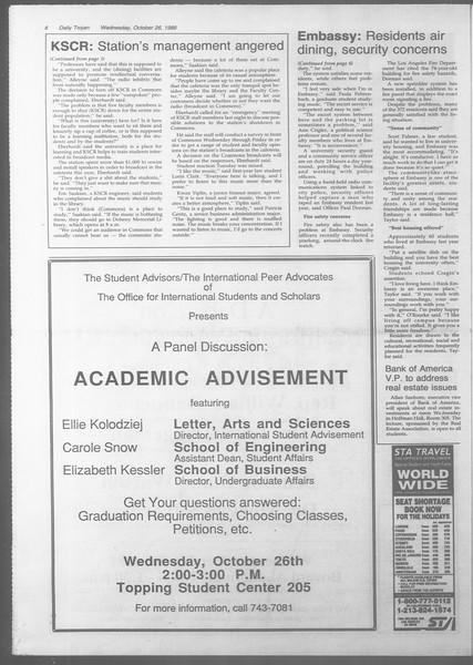 Daily Trojan, Vol. 107, No. 36, October 26, 1988