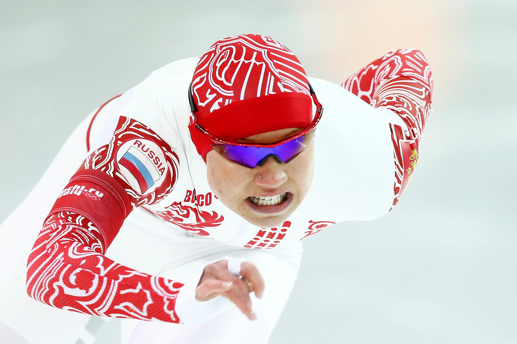 . Olga Fatkulina of Russia in action during the 1000m Women\'s  Speed Skating event in the Adler Arena at the Sochi 2014 Olympic Games, Sochi, Russia, 13 February 2014.  EPA/VINCENT JANNINK