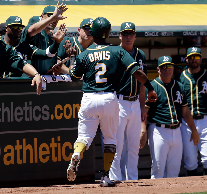 . Oakland Athletics\' Khris Davis (2) is congratulated after scoring against the Cleveland Indians in the first inning of a baseball game, Sunday, July 16, 2017, in Oakland, Calif. Davis scored on a single by A\'s Jaycob Brugman. (AP Photo/Ben Margot)