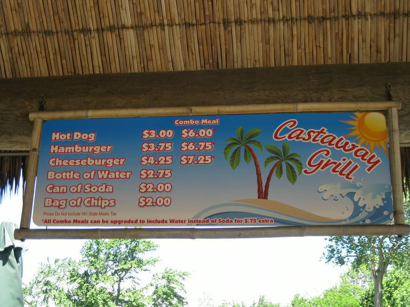 Castaway Grill menu sign.