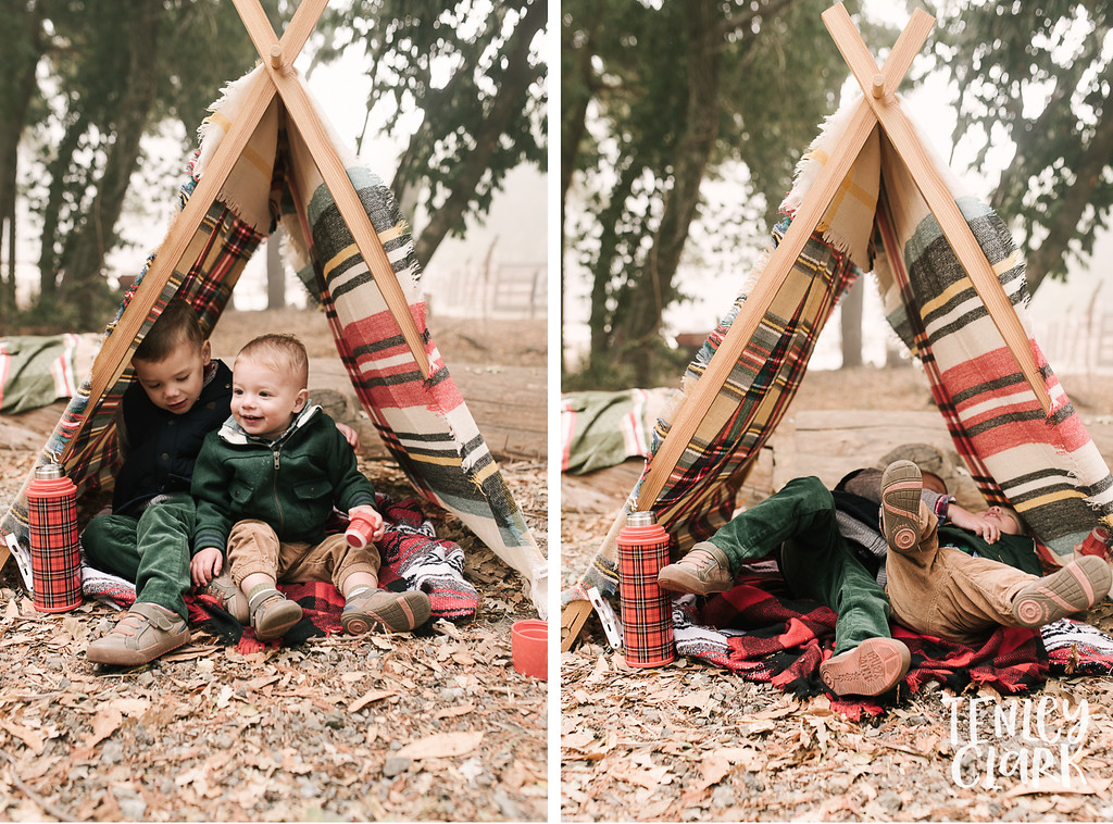 Lifestyle camping holiday family photoshoot with hot cocoa/chocolate, mugs, tractors, horses, and an A-frame tent in Woodside, CA by Tenley Clark Photography.