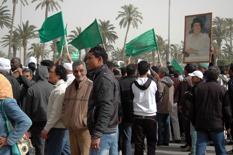 Tripoli: pro-Qaddafi rally, Green Square, February 18, 2011. The solid green flag (green is a popular color in Islam) was adopted by Qaddafi as Libya's official flag in 1969, making Libya the only country in the world with a one-color flag.