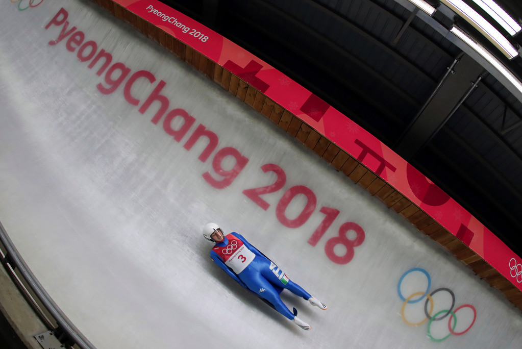 . Sandra Robatscher of Italy competes in her second run during the women\'s luge competition at the 2018 Winter Olympics in Pyeongchang, South Korea, Monday, Feb. 12, 2018. (AP Photo/Michael Sohn)