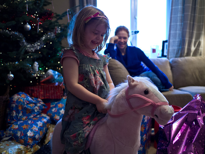 Juliette riding on her new horse (called Nosy)