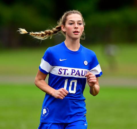 10/6/2018 Mike Orazzi | Staff St. Paul Girls Soccer's Reagan Davis (10) Saturday.