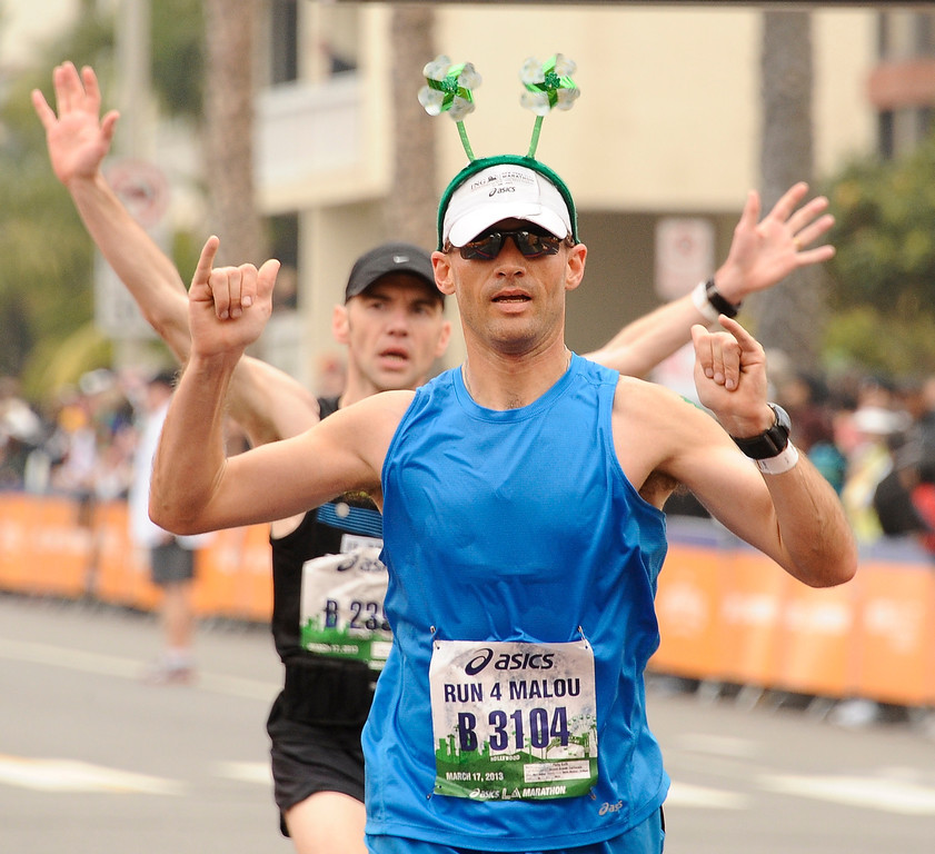 . LA marathon runners fashion at the finish line during the 2013 LA Marathon. Santa Monica March 17,2013. Los Angeles Photo by Gene Blevins/LA DailyNews