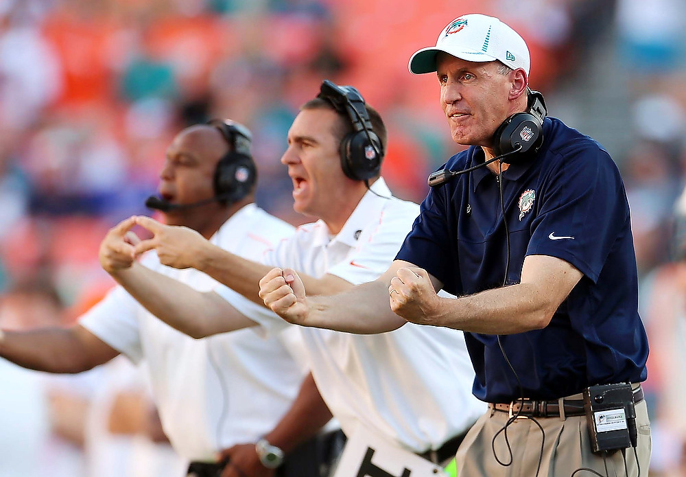 . Miami Dolphins head coach Joe Philbin, right, gestures during the second half of an NFL football game against the Buffalo Bills, Sunday, Dec. 23, 2012, in Miami. (AP Photo/J Pat Carter)