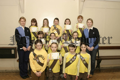 Members of the Newry Brownie Guides who received their Certificates and promise badges with Joanne Tilly & Joanne Murdock (brownie guides.06W07N56