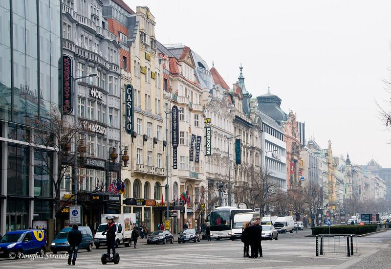 Building facades on Wenceslas Square, Prague