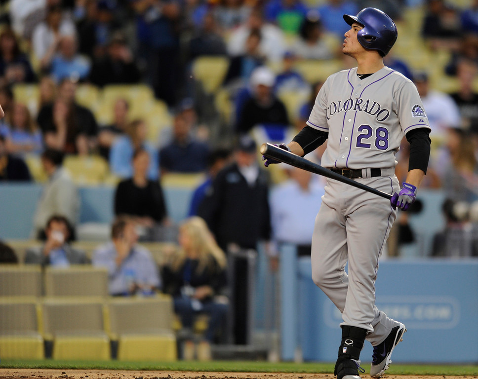 . Nolan Arenado during the first inning. The Los Angeles Dodgers played host to the Colorado Rockies in a game at Dodger Stadium in Los Angeles, CA 5/1/2013(John McCoy/Staff Photographer)