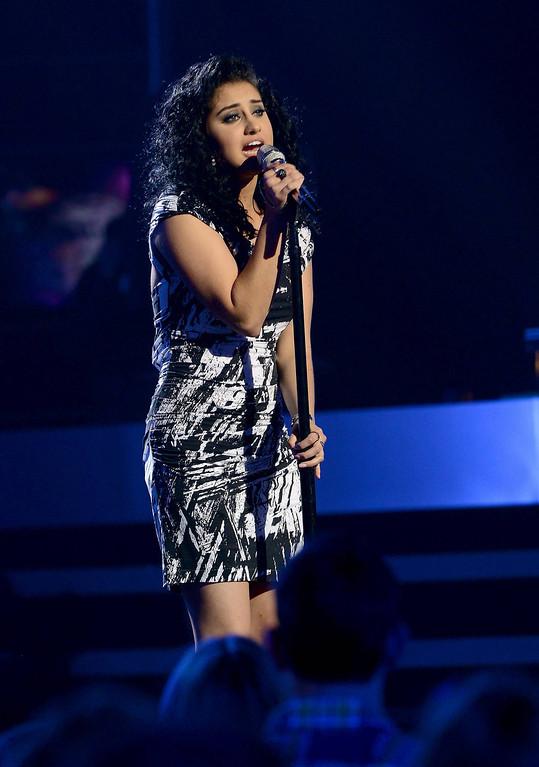 . AMERICAN IDOL XIII: L-R: Jena Irene performs on AMERICAN IDOL XIII airing Wednesday, April 2 (8:00-10:00 PM ET / PT) on FOX. CR: Michael Becker / FOX. Copyright 2014 / FOX Broadcasting.