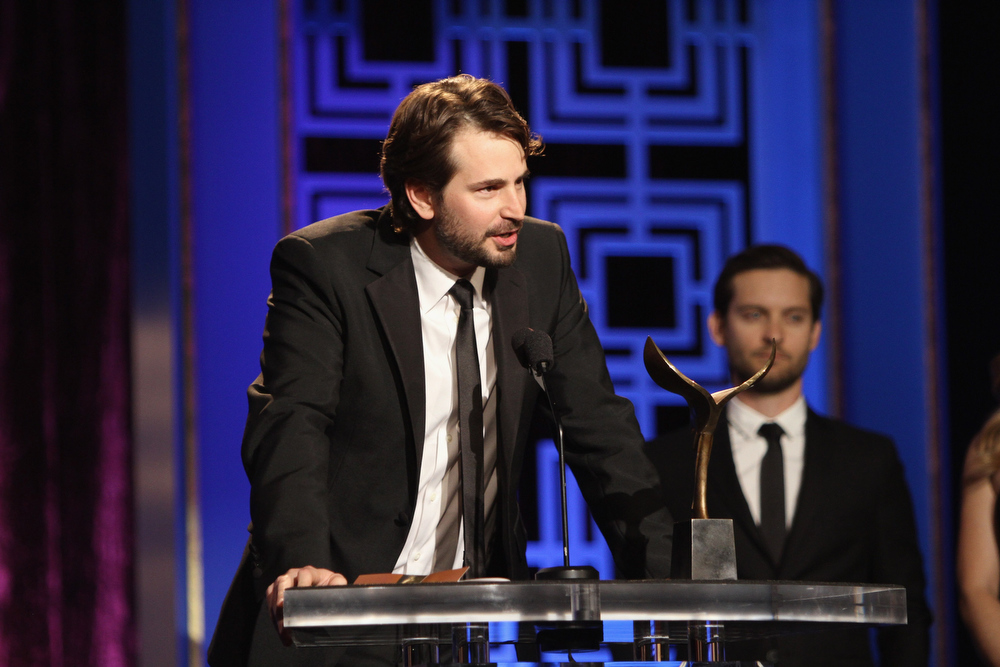 Description of . Writer Mark Boal accepts the Writers Guild Award for Best Original Screenplay onstage at the 2013 WGAw Writers Guild Awards at JW Marriott Los Angeles at L.A. LIVE on February 17, 2013 in Los Angeles, California.  (Photo by Maury Phillips/Getty Images for WGAw)