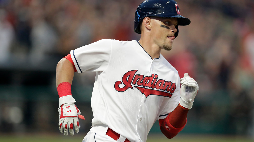 . Cleveland Indians\' Brandon Guyer runs the bases after hitting a two-run home run off Minnesota Twins starting pitcher Kyle Gibson in the fourth inning of a baseball game, Monday, Aug. 6, 2018, in Cleveland. (AP Photo/Tony Dejak)