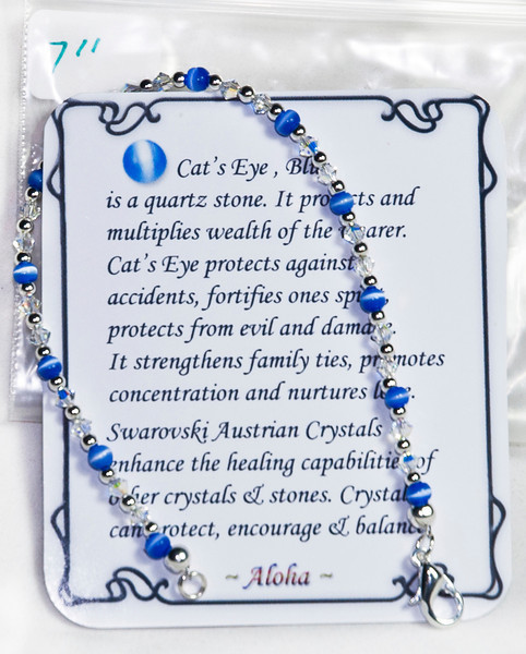 Blue Cat's Eye with Swarovski  crystal