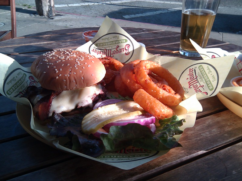 Burgermeister - Cheeseburger with Bacon & Avocado, Onion Rings
