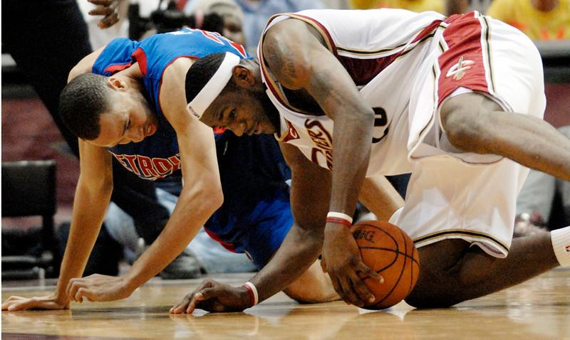 . Ken Blaze/KBlaze@News-Herald.com Cleveland\'s LeBron James steals the ball from Detroit\'s Tayshaun Prince Saturday at the Q.