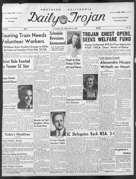 Daily Trojan, Vol. 39, No. 78, February 13, 1948