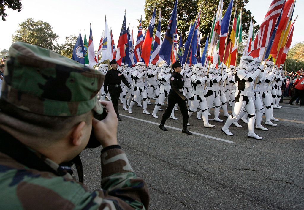. Members of the 501st Legion, a group of International Star Wars fans dressed as storm troopers march in the 118th Tournament of Roses Parade in Pasadena, Calif., Monday, Jan. 1, 2007. (AP Photo/Damian Dovarganes)