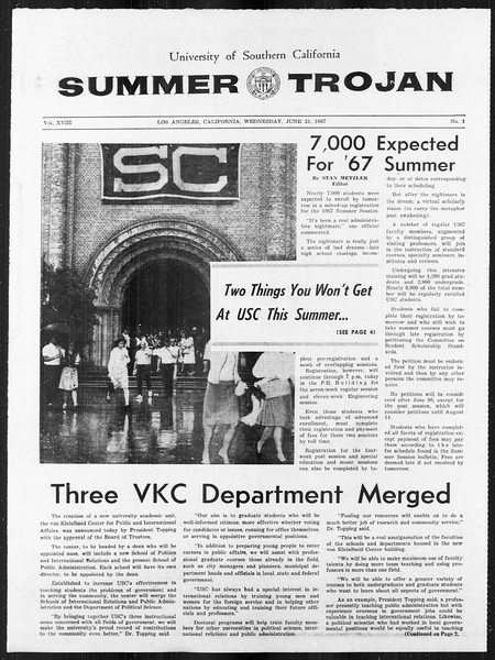 Summer Trojan, Vol. 18, No. 1, June 21, 1967