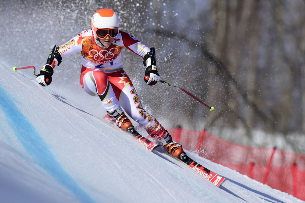 . Canada\'s Marie-pier Prefontaine competes during the Women\'s Alpine Skiing Super-G at the Rosa Khutor Alpine Center during the Sochi Winter Olympics on February 15, 2014.  (OLIVIER MORIN/AFP/Getty Images)
