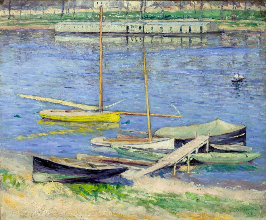 """. Gustave Caillebotte, \""""Les Bateaux Sur La Seine Pres de Argenteuil,\"""" 1883, oil on canvas, 21.25x25.5\"""" (Image provided by the Denver Art Museum)"""