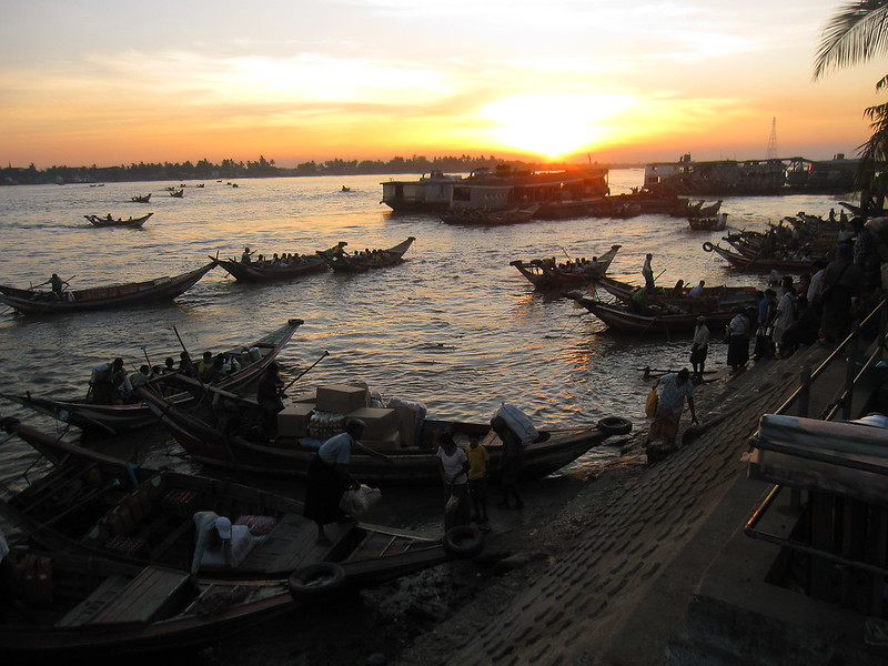 Sunset on the river in downtown Yangon, Myanmar (Burma)