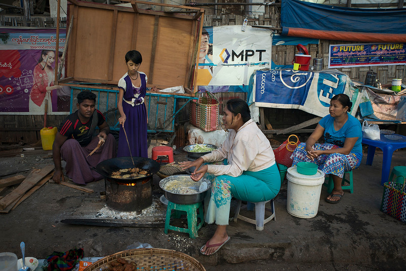 Street vendors.  Mandalay,Myanmar,2017.