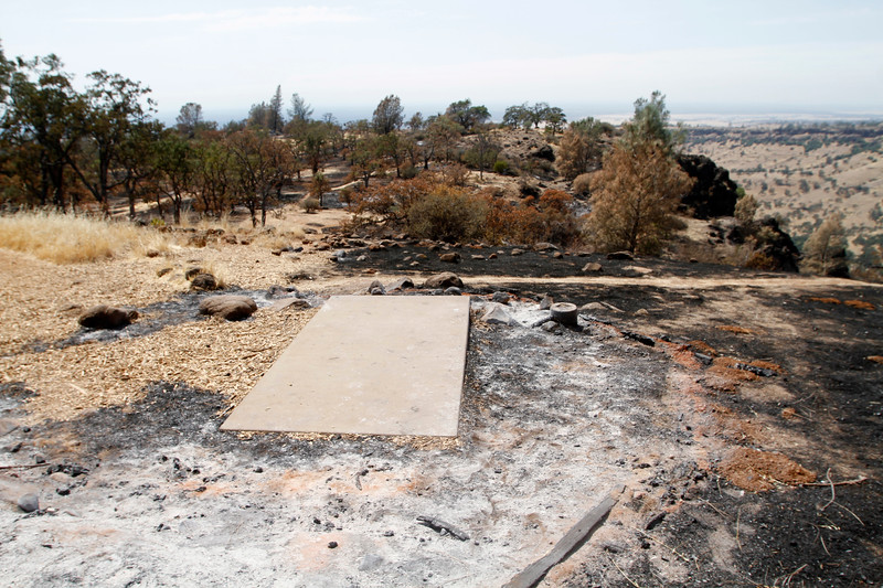 Hole No. 3. The Peregrine Point Disc Golf Course was scorched by the Stoney Fire. The charred course is seen Tuesday, Aug. 14, 2018, in Chico, California. (Dan Reidel -- Enterprise-Record)
