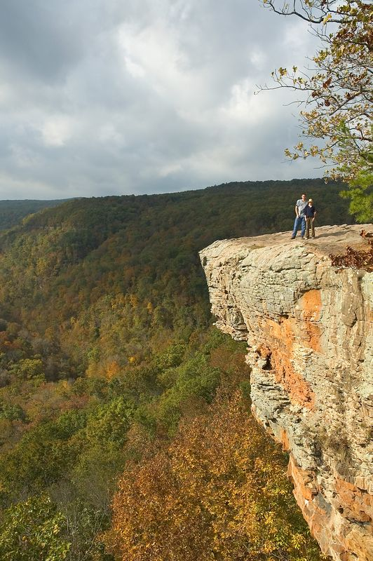 Hawksbill Crag (A.K.A. Whitaker Point)  Buffalo National River.  Believe it or not, I actually took this picture.  Camera on tripod; timer set on 20 sec; then I ran about 75 ft along the edge of the bluff.  The wind was blowing so hard, I was a little afraid my camera & tripod would get blown off the edge of the bluff.