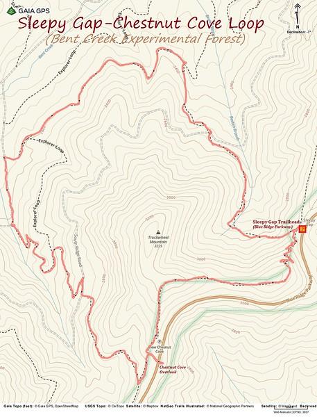 Bent Creek - Sleepy Gap/Chestnut Cove Loop Hike Route Map