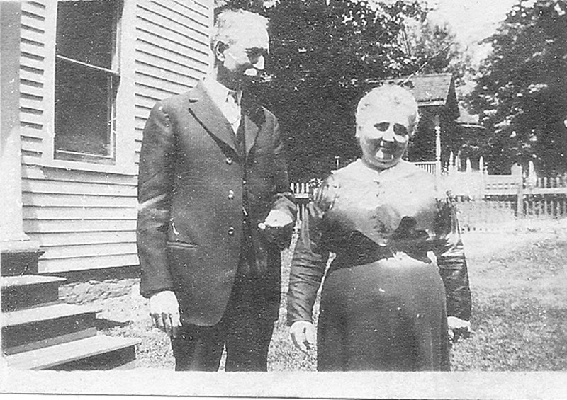. Writes AJ�S MOM of Casablanca-by-the-Sea: �This is a photograph of my maternal great-grandfather, Roswell Everett Smith, and \'Pet,\' my great-grandmother, Emma Gross Smith, taken on September 25, 1916. I think it was taken by my grandmother, Carrie Smith McLean, the day after her birthday, Sept. 24. Roswell and Emma met in Manilla, Indiana, when he and his father, Nathan, were traveling by train from Staten Island to Chattanooga. There was some sort of mishap, which resulted in the passengers� staying in Manilla for a few weeks. He and Emma met, began courting and eventually married. I\'ve always liked the fond way he is looking at her, his adored \'Pet.� She died in 1918 of Spanish Influenza; he lived until 1941 and never remarried.    <p>�(She reminds me now a bit of Mrs. Patmore of Downtown Abbey.)�</p>