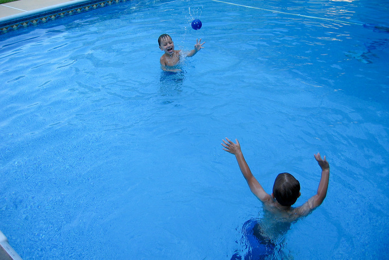 Playing catch in the pool.  KC and Amleto thought it was more fun to throw the ball out of the pool. Louise (Amleto's mom) was a good sport to keep retrieving the ball.