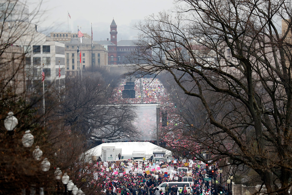 . A crowd fills Independence Avenue during the Women\'s March on Washington, Saturday, Jan. 21, 2017 in Washington. (AP Photo/Alex Brandon)