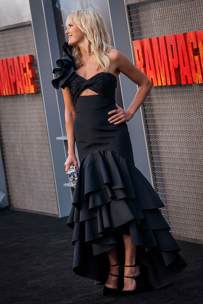 LOS ANGELES, CA - APRIL 04: Malin Akerman arrives at the Premiere Of Warner Bros. Pictures' 'Rampage' at Microsoft Theater on Wednesday April 4, 2018 in Los Angeles, California. (Photo by Tom Sorensen/Moovieboy Pictures)