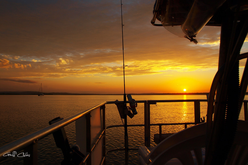 Golden Sunset at Sea from Boat.