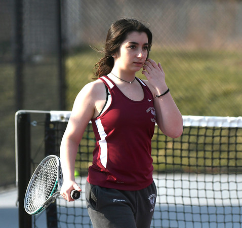 4/12/2018 Mike Orazzi | Staff Bristol Central's Erica O'Connor during Thursday's tennis match.