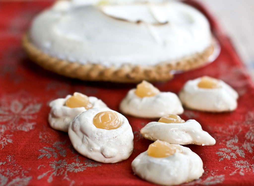 ". Lemon meringue pie is an easy dessert to rethink as a cookie. Though the crust was left off, these cookies have all the same elements as that delicious pie. <a href=""https://www.yahoo.com/news/lemon-meringue-pie-reimagined-holiday-cookie-192119036.html\"">Get the recipe for lemon meringue cookies</a>.  (AP Photo/Matthew Mead)"