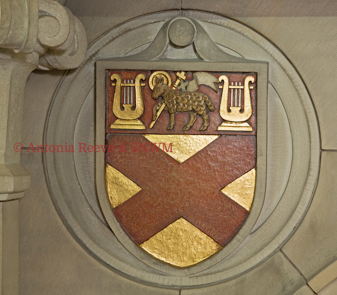 Stone Carved Shield, Painted - With Cross, Lamb and Harps